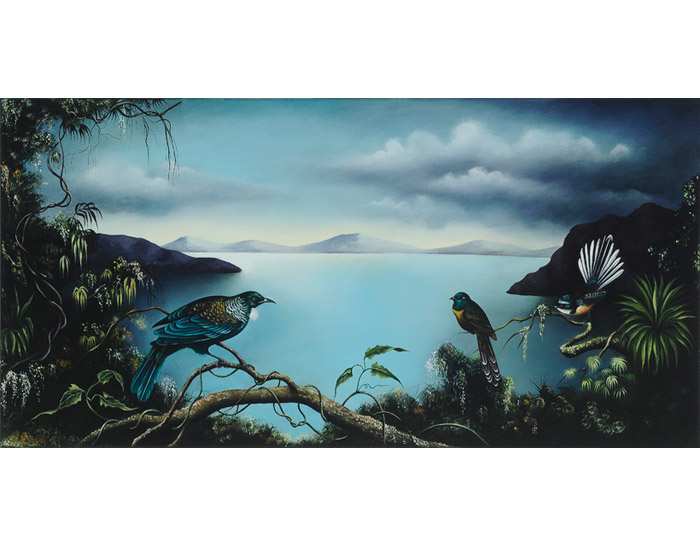 Judith-Van-Heeren-Landscape-with-black-fantail-and-pied-fantail-(after-Walter-Buller)-and-tui-2009---2010,-oil-on-linen-50-x-100-cm