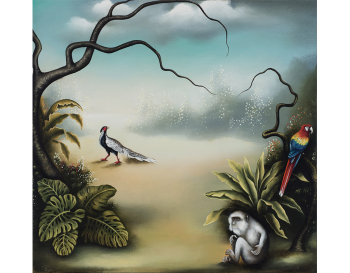 JudithVanHeeren_Landscape-with-2-birds-and-monkey-2015_48x50cm